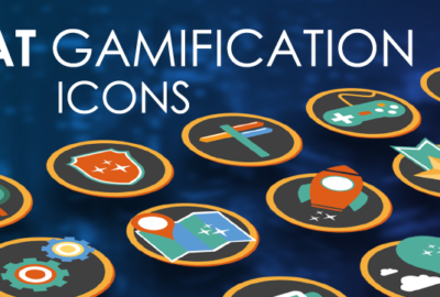 Flat Gamification Icons PowerPoint