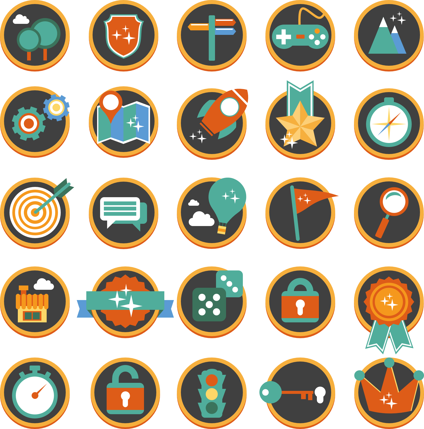 flat gamification icons